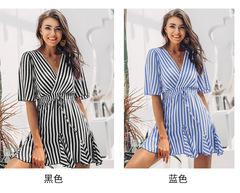 Women's Summer V-neck Print Striped Lace Short Sleeve Dress s black