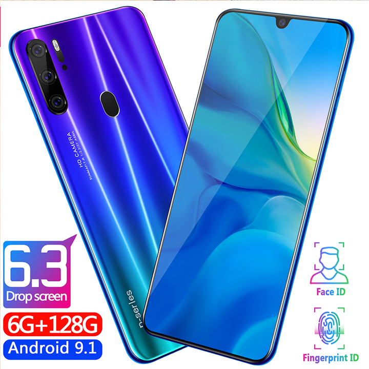 New Bobarry Smart phone P35 Pro 128G+6G 16MP+8MP 2G/3G/4G Android smartphone blue