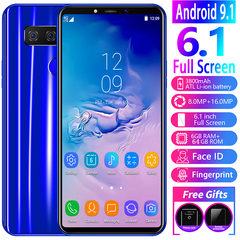New Bobarry Smartphone S10,6GB+64GB,8MP+16MP,2G/3G/4G,6.1Inch,Android9.1,3800mAh blue