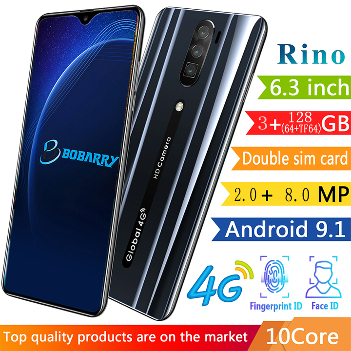 New Bobarry Smart Phone Rino 128G+3G 2+8MP 3G/4G 6.3Inch Android Smartphone Black 128G(64+TF64)