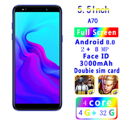 New Bobarry Smart Phone A70 4GB+32GB 2MP+8MP Dual Sim 5.5Inch 2G/3G/4G Android8.0 Smartphone blue