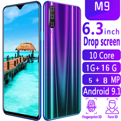 New Phone Bobarry M9,1G+16G, 5MP+8MP,2G/3G,6.3Inch,Android OS9.1Smartphone blue