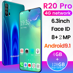 New Phone Bobarry R20 4G+128G(64+TF64) 4GNetwork 6.3Inch smart phone blue 128g(64+tf64)
