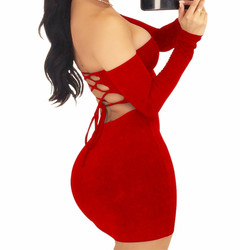 Night Club Buttock Skirt Sexy Chest-wiping Short Skirt Long Sleeve Backless Dress m red