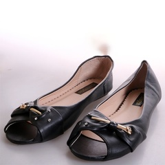 Women Fashion Flat Tip Toe Shoes - black 39