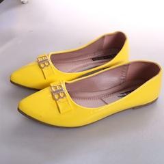 Women fashion Flat Pointed Shoes Yellow 37