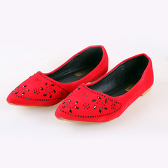 Women fashion Flat Pointed Shoes red 37