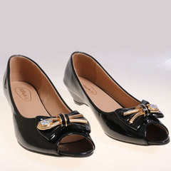 Women fashion Tip Toe Low Wedge Shoes black 37