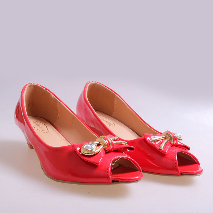 Only 20 PCS in Stock Best Price Women fashion Tip Toe Low Wedge Shoes ladies shoes women shoes red 37