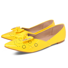Only 20 PCS in Stock Factory Best Price Women fashion Flat Pointed Shoes ladies shoes women shoes yellow 40