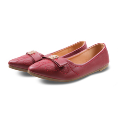 Only 20 PCS in StockFactory Best Price stock Women Flat Pointed Shoes ladies shoes women shoes maroon 37