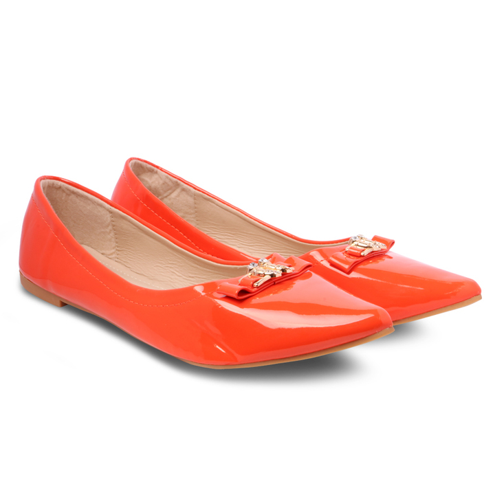 Only 20 PCS in Stock Best Price Women fashion Flat Pointed Shoes ladies shoes women shoes Orange 42