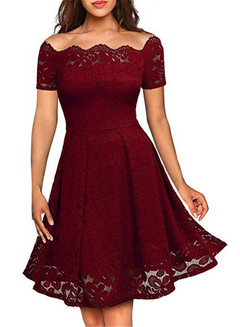 Mother's Day Spring and Summer 2009 New European Station Retro Lace Collar Dress 2XL l wine red