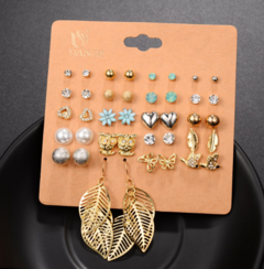 Love rhinestone butterfly small animal leaf earrings set as picture nornal