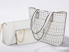 New Vision 3pieces/set fashion shoulder crossbody hand hollow-carved design big capacity women bag white normal