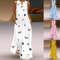 Dresses New Lady's Butterfly Printed Dresses V-collar Sleeveless Sleeveless Summer Dresses xl yellow