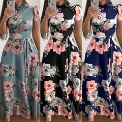 New summer fashion floral dress spandex tie short sleeve fake collar milk silk high waist dress xxl black