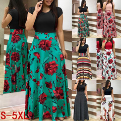 Dresses New Printed High-waist Long Skirt for Summer 2019 s gules