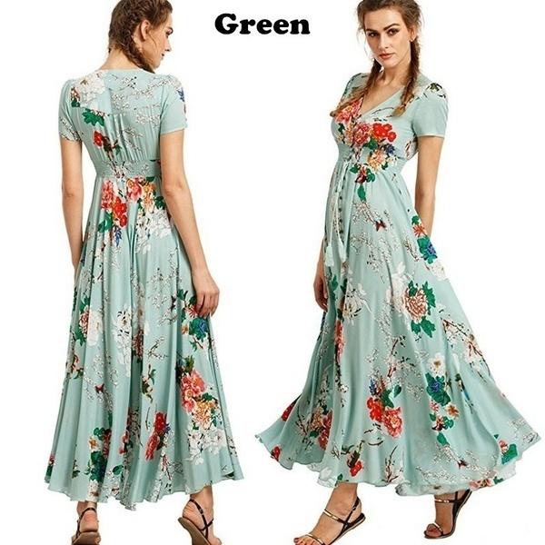 fc1fffa06d313 Summer new women's fashion bohemian retro ethnic style holiday wind V-neck  loose long dress xl green
