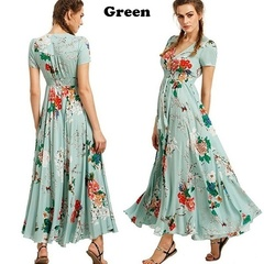 Summer new women's fashion bohemian retro ethnic style holiday wind V-neck loose long dress xl green