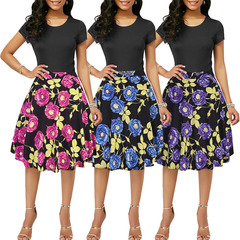 2019 summer new short skirt high waist retro Hepburn rose print skirt xxl gules