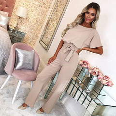 2019 new women's spring and summer fashion solid color with button short-sleeved jumpsuit apricot xxl