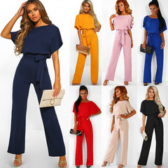 2019 new women's spring and summer fashion solid color with button short-sleeved jumpsuit black l