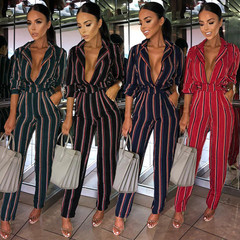 2019 hot new spring and summer fashion print striped long-sleeved lace pocket women's jumpsuit navy blue s