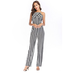 2019 summer women's new tube top backless Slim stripes sexy jumpsuit trousers summer white m