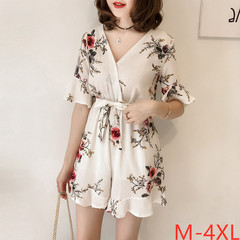 2019 summer new XL loose sleeveless floral chiffon jumpsuit female high waist slim wide leg jumpsuit white xl