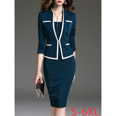 Women's fashion elegant office pencil skirt round neck Slim bag hip ladies professional suit dress 6XL blue