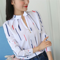 2019 Europe and America loose striped stand collar blouse long sleeve white female new wild suit Color bar m