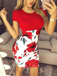 2019 Summer assorted colors high waisted dresses s red