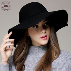 100% Pure Cashmere Wool Fedoras Solid Wide Large Brim Hats For Women Vintage Felt Floppy Hat - Black
