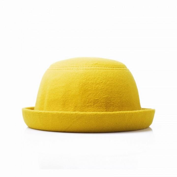 Fashion Vintage Bowler Hat Autumn and Winter Wool Fedora - Yellow ... 863225dda91