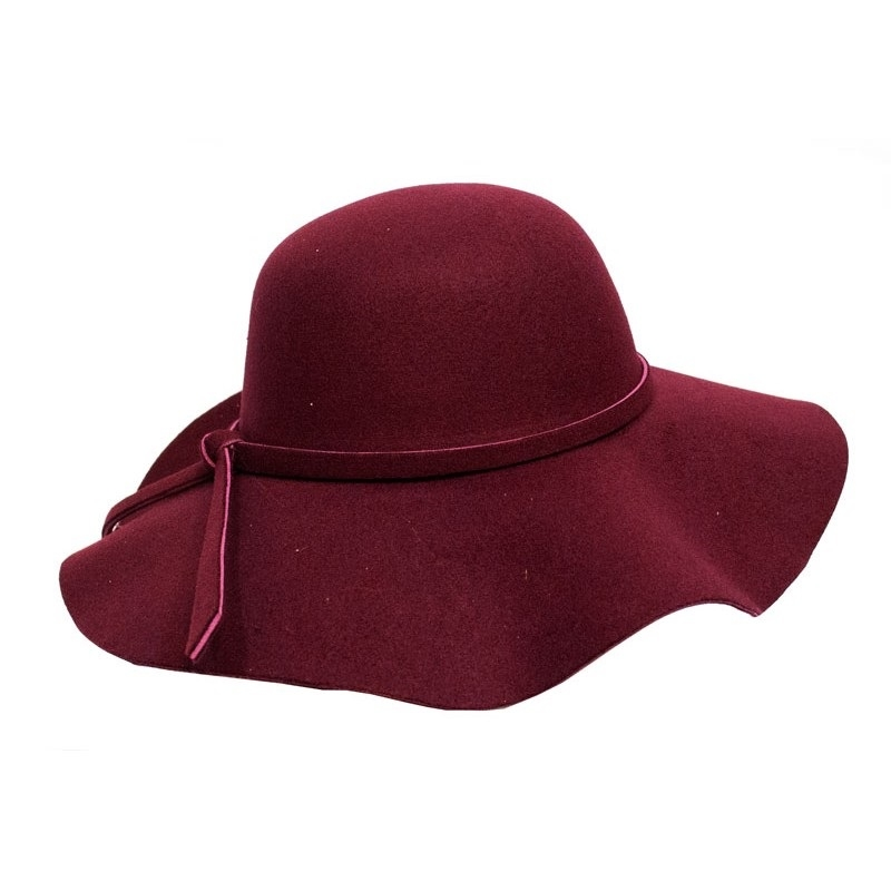 Pure Cashmere Wool Fedoras Solid Wide Large Brim Hats For Women ... 8d65fd812db8