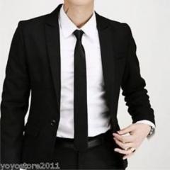 Exquisite Man Solid Color Polyester Silk Neck Tie Cravatta