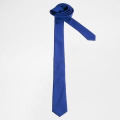 Exquisite Man Solid Color Polyester Silk Neck Tie Cravatta - Blue