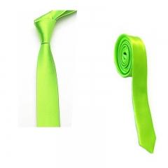 Exquisite Man Solid Color Polyester Silk Neck Tie Cravatta - Green