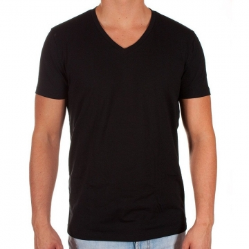 Swag Fitness T Shirts Men Solid V Neck T Shirts New Cotton Hip Hop T-Shirts Short Sleeve Fashion BLACK M