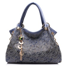 Handbag Women Bag Hollow-out Ombre Handbags Floral Print Shoulder Bags Ladies PU Leather Tote Bag blue one size