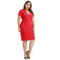 The spring 2019 new large size ladies' office of cultivate one's morality dress 3xl one color