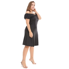 2019 Spring and Summer New women's dress One word shoulder Slim A word skirt 3xl Black