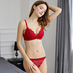 New gathered no steel ring bra set thin section new ladies sexy lace underwear red 70A+S
