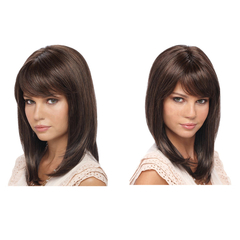 2019 new hot wigs Europe and the United States ladies fashion oblique bangs short hair black-brown 40cm
