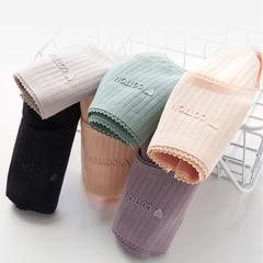 3 pack new underwear women cotton antibacterial stripe plastic lace side ladies triangle briefs 3 pcs colors random xl
