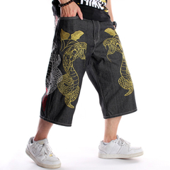 Hip hop shorts straight loose large size tide man cropped trousers picture color 30