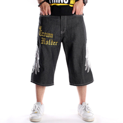 Hip hop denim man loose large size cropped trousers skateboard pants picture color 30