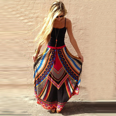 Nationality style printing big swing skirt dress red one size