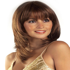 Wigs Europe and America realistic oblique bangs long hair wigs picture color 24cm